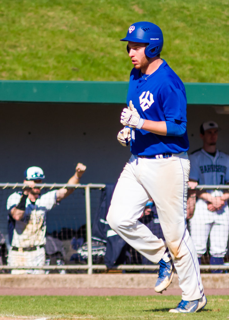Zach Loewenberg Approaches Home Plate After Hitting a Home Run